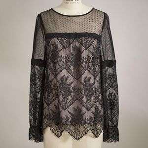 Romantic Lace Blouse Black Long Sleeves Sundance